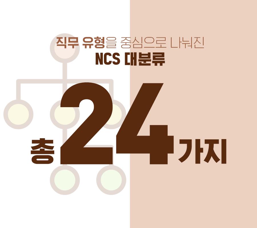 직무 유형을 중심으로 나눠진 NCS 대분류 총 24가지